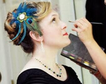 Peacock Bridal Fascinator, Boho Wedding Headpiece, Feather Hair Clip, Something Blue, Teal Bridal Headpiece, Wedding Hair Comb, ALEXIA