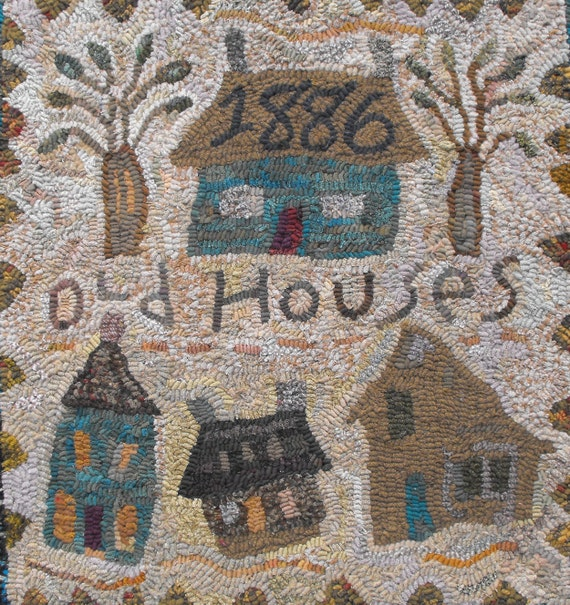 Old Houses And Trees//1886 House Rug Hooking Pattern//sampler