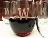 Set Of 4 Personalized Stemless Wine Glasses Monogram Glasses