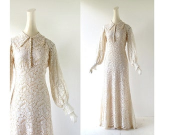 1930s Wedding Dress | Lace Gown | 30s Dress | 1930s Gown | XS