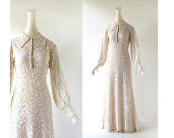 1930s Wedding Dress / Lace Gown / 30s Dress / XS