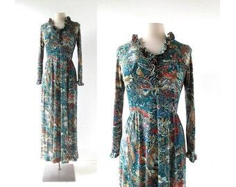 1970s Maxi Dress | Le Fauviste | 70s Dress | Jersey Maxi Dress | Medium M