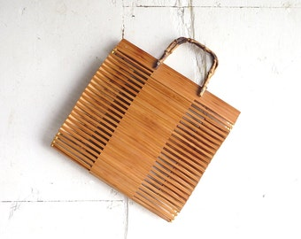 Vintage Wooden Tote / Bamboo Bag / 1960s Purse / Tote Bag