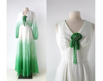 1970s Maxi Dress / 70s Gown / Miss Elliette / Dress with Jacket / XS