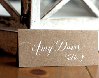 Custom hand lettered calligraphy place cards, escort cards for weddings, dinner party