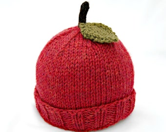 Wool Baby Apple Hat - Red