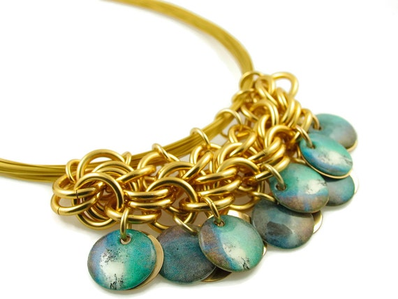 SOLD Custom Hand Woven Turquoise and Gold Origami Inspired Modified Bib Necklace