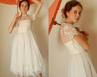 Sheer Floral Dress Vintage 50s 60s Sheer Cream Embroidered Floral Party Dress (xs)