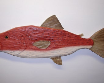 Wooden Fish Salmon  hand carved wood carving