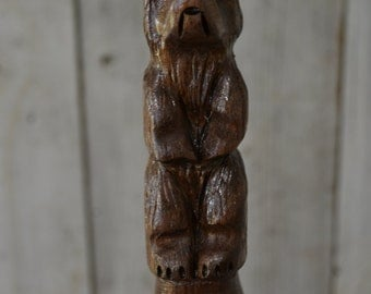 Walnut Bear Walking Stick - Grizzly Carving - Hand Carved Walking Bear Stick - Hiking Stick - Unique Gift - Functional Art - 1379