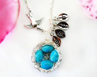 Bird Nest Necklace with Four Eggs and Initial Charms