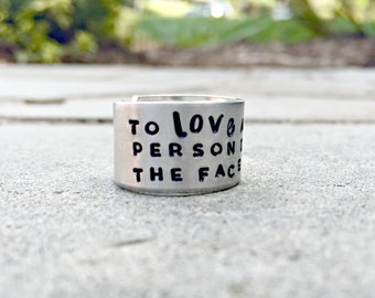 Les Miserables Ring, Les Mis Ring, Christian Ring, Hand Stamped Quote, To Love Another Person Is To See The Face of God, Christian Jewelry