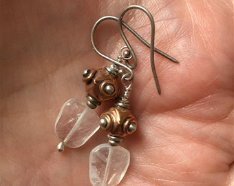 Moonstone Earrings, Copper Earrings, Silver Bali Bead Dangle Earrings, Moonstone Dangle Earrings