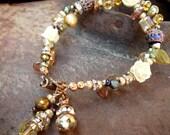 Vintage Rose and Crystal bracelet - Reserved