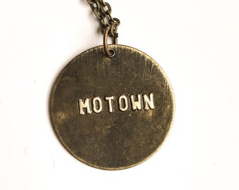 MOTOWN Stamped Metal Pendant with Brass Chain