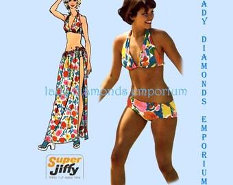 Simplicity 5644 Womens Bikini Swimsuit & Long Wrap Skirt size Medium 12-14 Bust 34 36 Vintage 1973 Simple to Sew Pattern Uncut FF