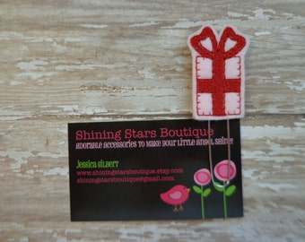 Planner Accessories - Light Pink And Red Valentine's Day Present Or Gift Box Felt Paper Clip Or Bookmark - Accessories For Planners