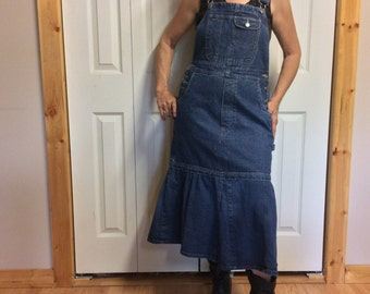 S/M Blue Jean Bib Overalls Dress/Denim Overalls/Midi Dress/Jean Jumper Dress/Women's Dresses/Upcycled Recycled Repurposed Clothing