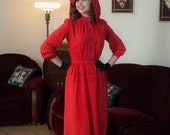 Vintage 1940s Dress - Fabulous Tomato Red Rayon Shirtwaist 40s Day Dress with Strong Shoulders and Front Peplum