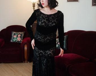 Vintage 1930s Dress - Incredible Velvet Deco Cubist Motif Burnout Gown with Handkerchief Hem