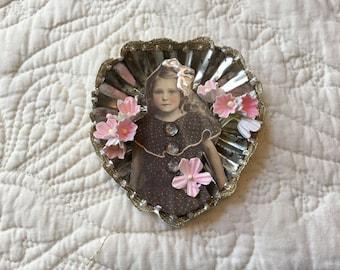 Altered Tin Vintage Girl  Heart TART Tin MAGNET