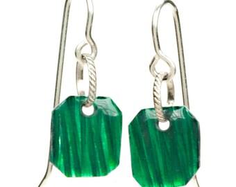Small green enamel earrings, Small square drop earrings, petite fashion earrings
