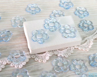12 Light blue acrylic flower beads size 20 mm, daisy flower beads, transparent beads, Lucite flower beads for DIY craft & Jewelry projects