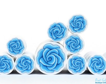 Sky Blue Polymer clay Rose Flower cane , raw and unbaked polymer clay millefiori Fimo cane by Ronit Golan - Moroccan