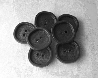 Black Vintage Buttons, 22mm 7/8 inch - Black Retro Rounded Square Sewing Buttons - 7 VTG NOS Satin Black Mod Plastic Buttons PL290 bb