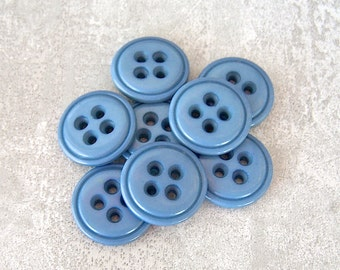 Vintage Blue Buttons, 19mm 3/4 inch - Semi-Gloss Seaside Blue Plastic Buttons - 8 VTG NOS Big Eyed Summer Blue Sewing Buttons PL377