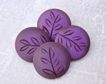 BiG Amethyst Purple Vintage Buttons 33mm - 1 1/4 inch Plastic Coat Buttons with Carved Leaf Design - 4 VTG Deep Purple Shank Buttons PL255