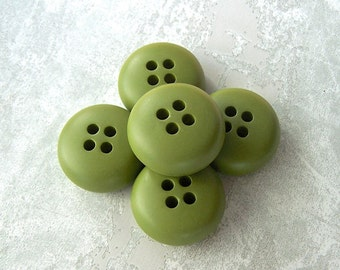 Pesto Green Buttons, 29mm 1-1/8 inch - Waycool Satin Green Domed Sew Through Buttons - 4 VTG NOS Chunky Greenery Plastic Sewing Button PL442
