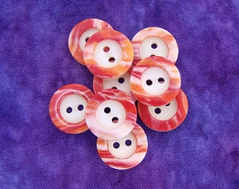 Marbled Sewing Buttons 15mm - 5/8 inch White Buttons with Flame Orange 'n Red Ring-Around - 9 NOS Two Tone Vintage Plastic Buttons PL265 2LS