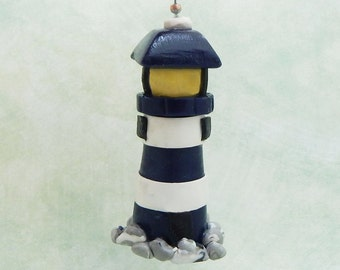 Lighthouse Fan Pull - Nautical Fan Pull - Children's Nautical Room Decor - Beach Themed Nursery - Polymer Clay