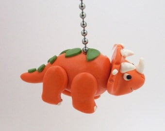 Dinosaur Fan Pull  Chain - Orange Triceratops Fan pull - Children's Dinosaur Room Decor - Dino Nursery - Polymer Clay