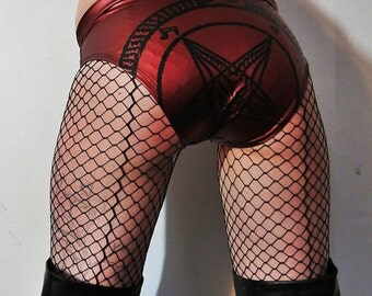 Hell Couture Metallic Wine Pentagram Rubber Panties