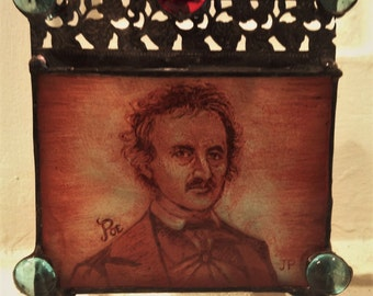 Edgar Allan Poe Hand Painted Stained Glass Candle Holder
