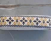 Gold, Black, & White Jacquard Ribbon Trim - Matte Colors - Renaissance Faire, Cosplay, Etc. - Soft - 3.5+ Yards -Antique SCA Boho Design