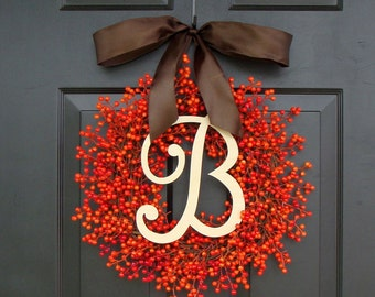 Fall Berry Wreaths,  Monogram Fall Wreaths, Orange Pumpkin Wreath with Bow WEATHERPROOF Berries