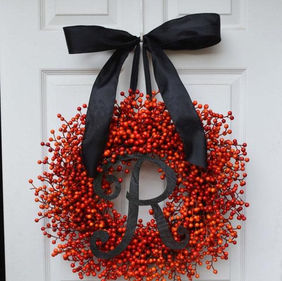 Halloween Wreath- Orange Weatherproof Berry Wreath- Fall Wreath- Autumn Decor- Halloween Decoration- Weatherproof Berries