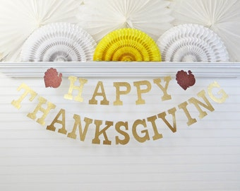 Glitter Thanksgiving Banner - 5 inch Letters with Turkey - Thanksgiving Home Decor Turkey Banner Thanksgiving Garland Fall Home Decor Banner