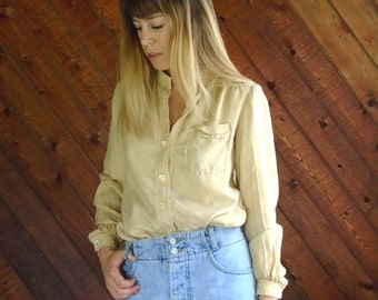 Tan Silk l/s Button Down Blouse - Vtg 70s - XS/S