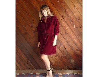 Cranberry Red Corduroy Mini Shirt Dress - Vintage 80s - LARGE