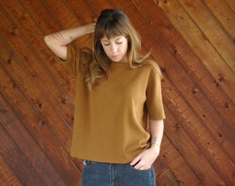 Putty Brown Oversized Knit Sweater Short Sleeves- Vintage 90s - MEDIUM