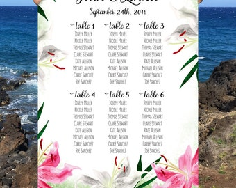 Wedding Seating Chart, Stargazer Lily Flower Wedding Sign, Custom Large Flower Wedding Seating Chart, Custom Wedding Sign, DIGITAL FILE