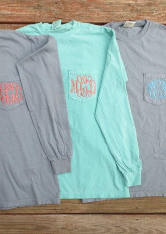 Chalky mint comfort color t shirt monogrammed pocket t for Mint color t shirt