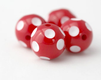 Polka Dot Acrylic Beads Red White Dimpled 20mm (4)