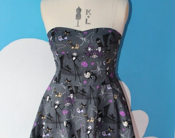 charcoal nightmare before christmas sweet heart dress - all sizes