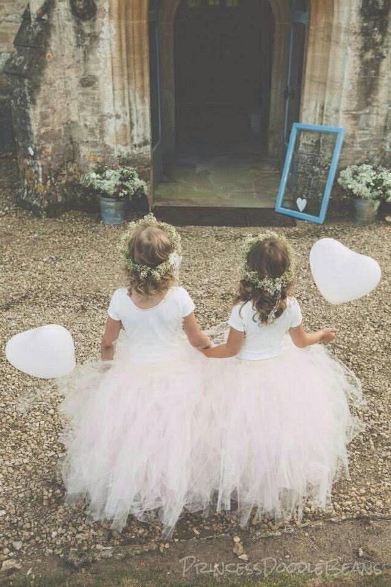Blush Pink - Flower Girl Tulle Skirt in Light Pink and Ivory - Sewn long length tutu skirt - choose your size and length - weddings