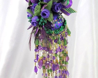 Emerald Green, White, Purple and Gold Mardi Gras Beaded Victorian Ornament with 110 Hand Set  Swarvoski Crystals